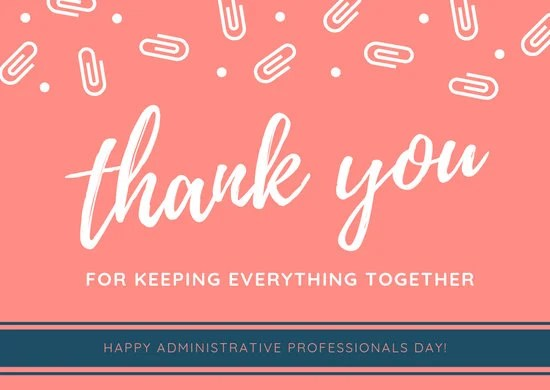 White and Orange Paperclips Administrative Professionals Day
