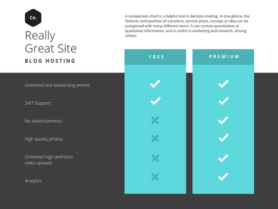 Teal Simple Comparison Chart - Templates by Canva
