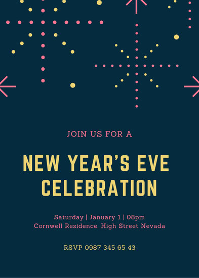 Yellow and Pink Polkadots Fireworks New Years Eve Invitation