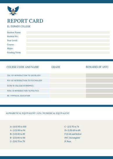 Blue White and Cream Simple Formal College Report Card - Templates
