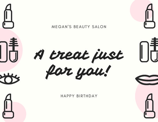 Light Pink Makeup Birthday Gift Certificate - Templates by Canva