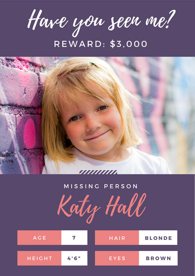 Pink and Purple Missing Person Poster - Templates by Canva