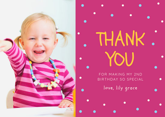Pink Polka Dots Girl Birthday 2Nd Thank You Card - Templates by Canva