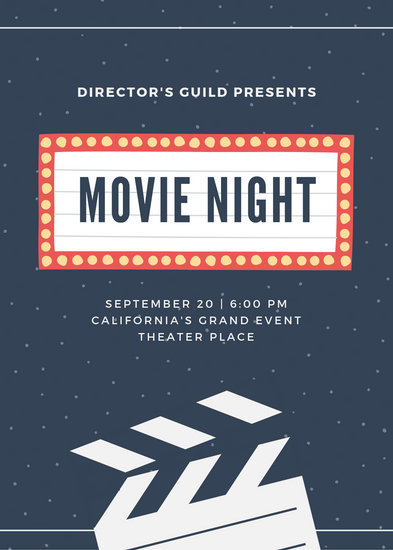 Navy Blue Vintage Sign Movie Night Flyer - Templates by Canva