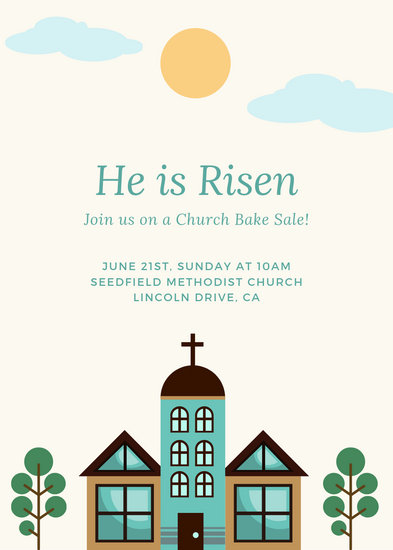 Minimalist Church Illustration Bake Sale Invitation - Templates by Canva