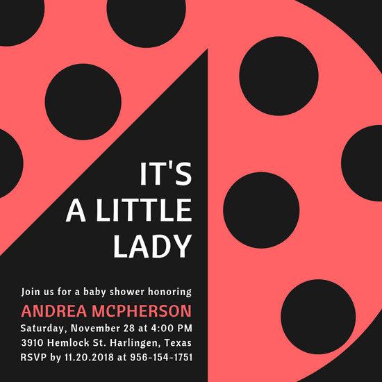Ladybug Baby Shower Invitation - Templates by Canva