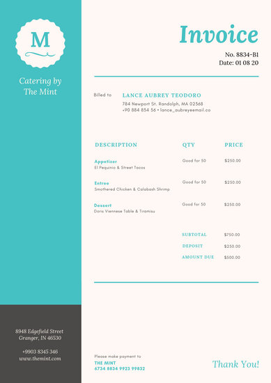 Teal Grey Badge Catering Fancy Invoice - Templates by Canva