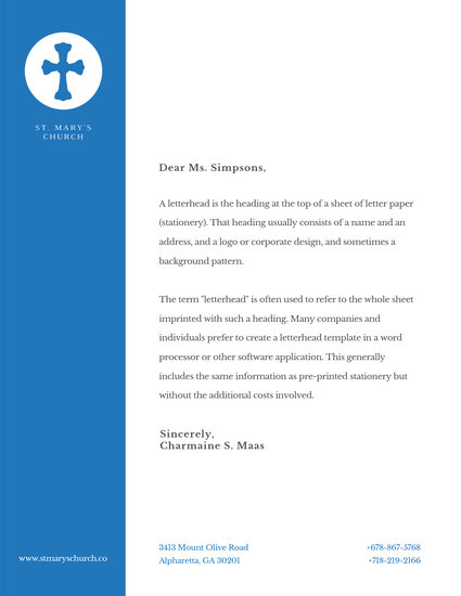 Steelblue Cross Church Letterhead - Templates by Canva