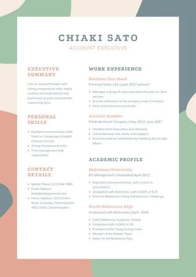 canva resume word template