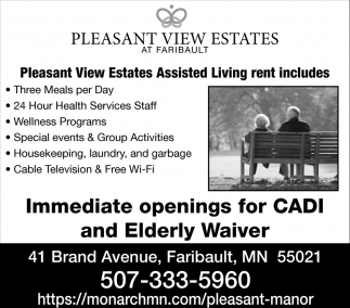 Housekeeping Openings Inmediate Openings For Cadi And Elderly Waiver Pleasant View
