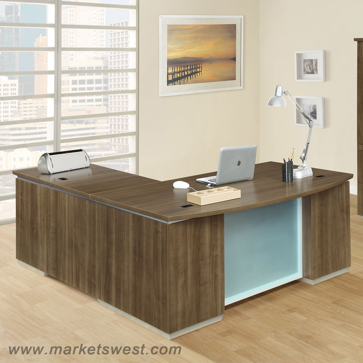 Executive L Shaped Desk Pimlico Walnut Laminate Right Executive L Shape Desk
