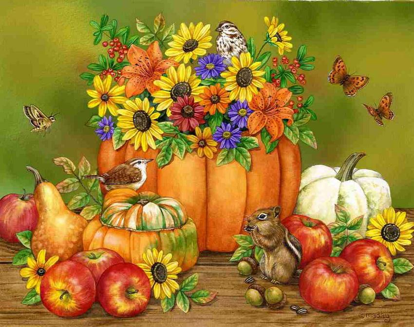 Free Fall Pumpkin Desktop Wallpaper Illustrations By Jane Maday Art Blog Markovart