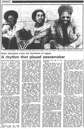 riddim played peacemaker guardian 1978-05-20