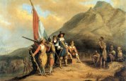 Jan van Riebeeck land in Tafelbaai in April 1652 Grafika:  Charles Davidson Bell (1813–1882)