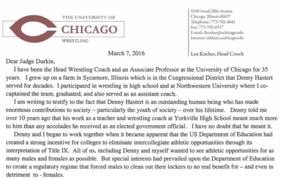 U of C Wrestling Coach Regrets Letter of Support for Hastert