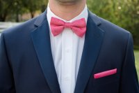 Hot Pink And Navy Blue Ties - Image Of Tie