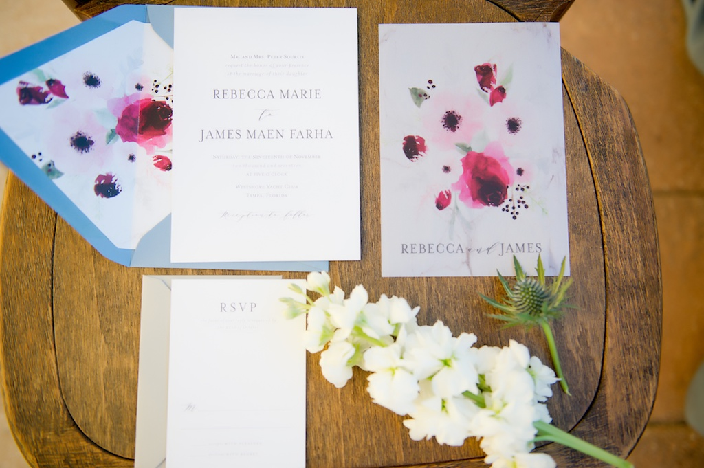 Light Blue And Pink Watercolor Floral Wedding Invitation