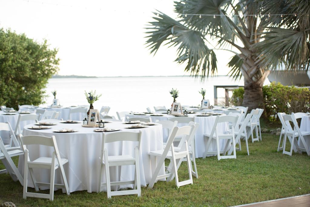 Outdoor Waterfront Florida Wedding Reception Decor, Round Tables
