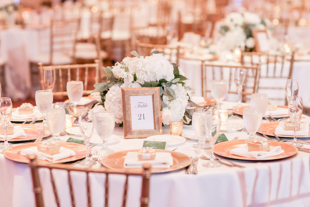 Wedding Reception Decor, Round Table with White Tablecloth, Gold