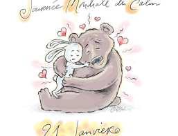 Hugging Bear and Bunny illustration by Ian Marsden