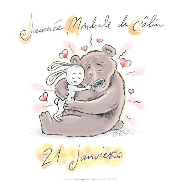 Hugging Bear and Bunny illustration
