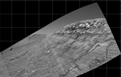 Over the crater rim; Mars Exploration Rover
