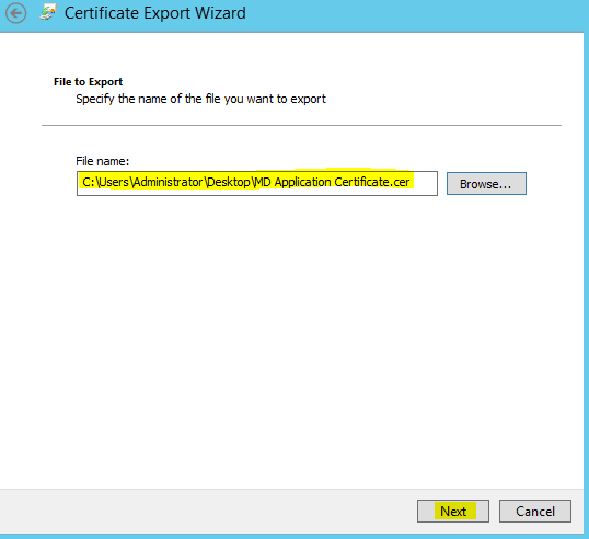 Certificate Export Name