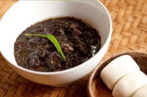 Pork Dinuguan (Pork Blood Stew) with bao