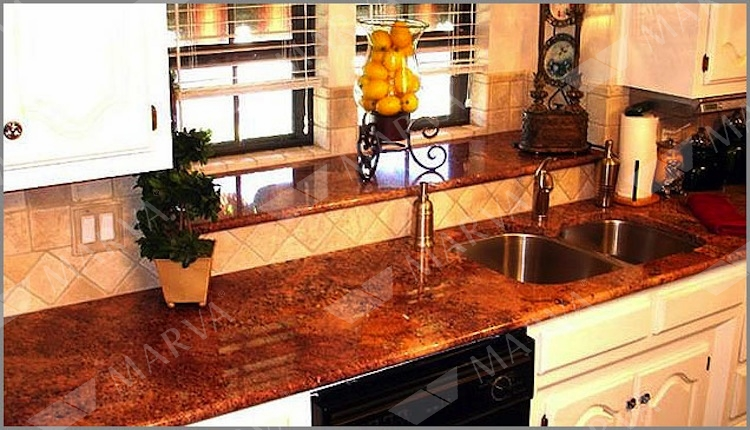 Travertine Countertops Diamond Red - Granite Designs - Marva Marble And Granite