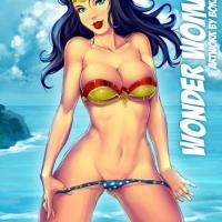 Amazing art of Wonder woman preparing to swim in the ocean... ofcourse naked!