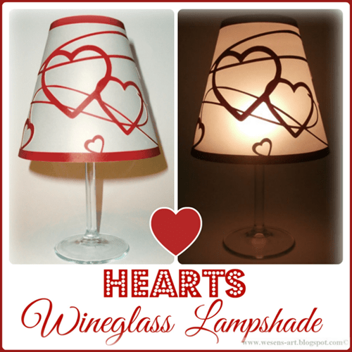 Hearts Wine Glass Lampshade