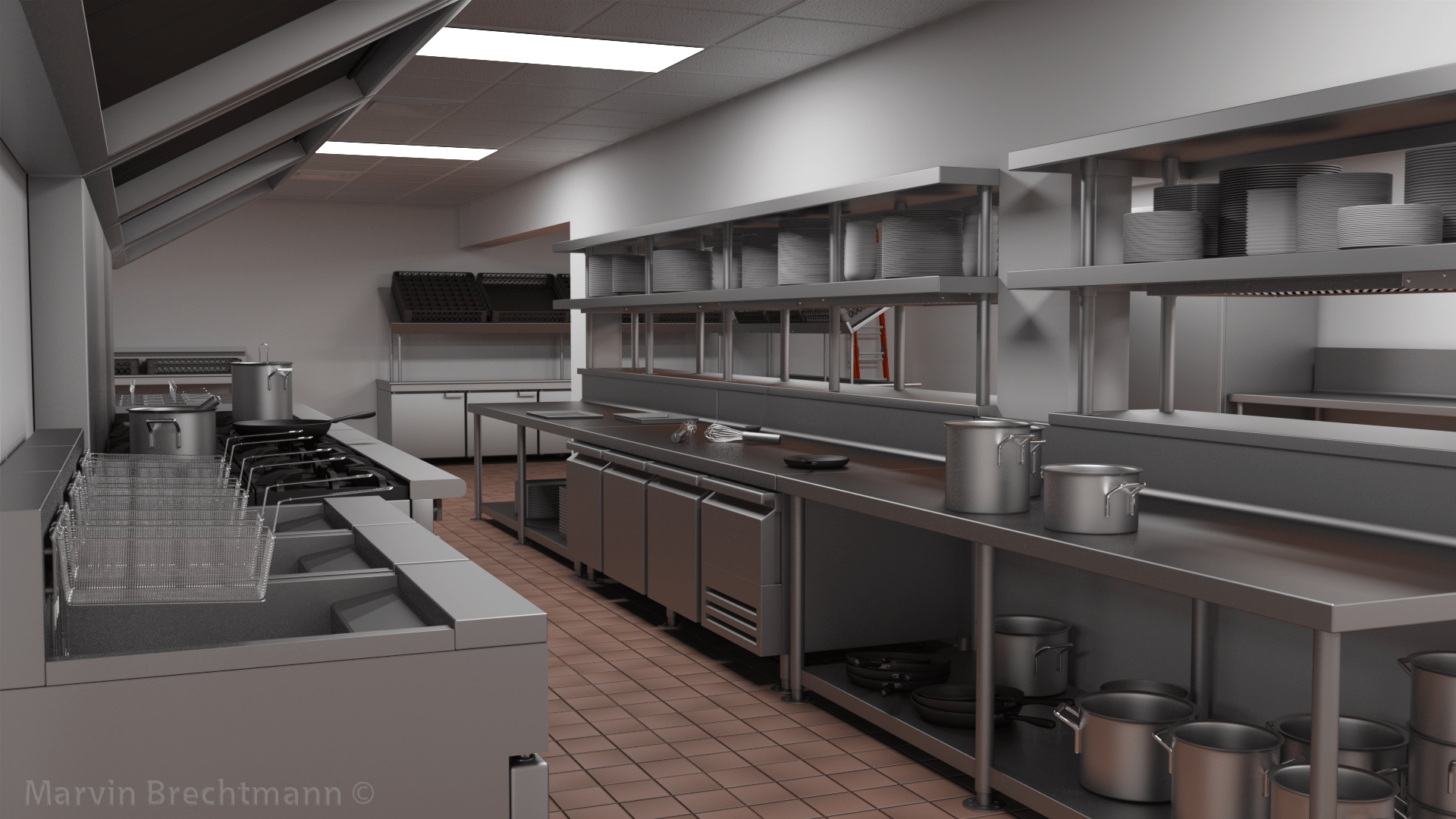 Commercial Kitchen 3d Design Marvin Brechtmann 3d Artist