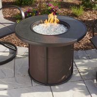 Stonefire 32-Inch Round Gas Fire Pit Table with Crystal ...
