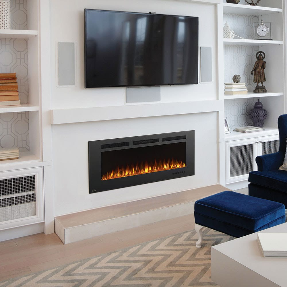 Living Room Electric Fireplace Napoleon Allure Phantom 50 Inch Linear Electric Fireplace