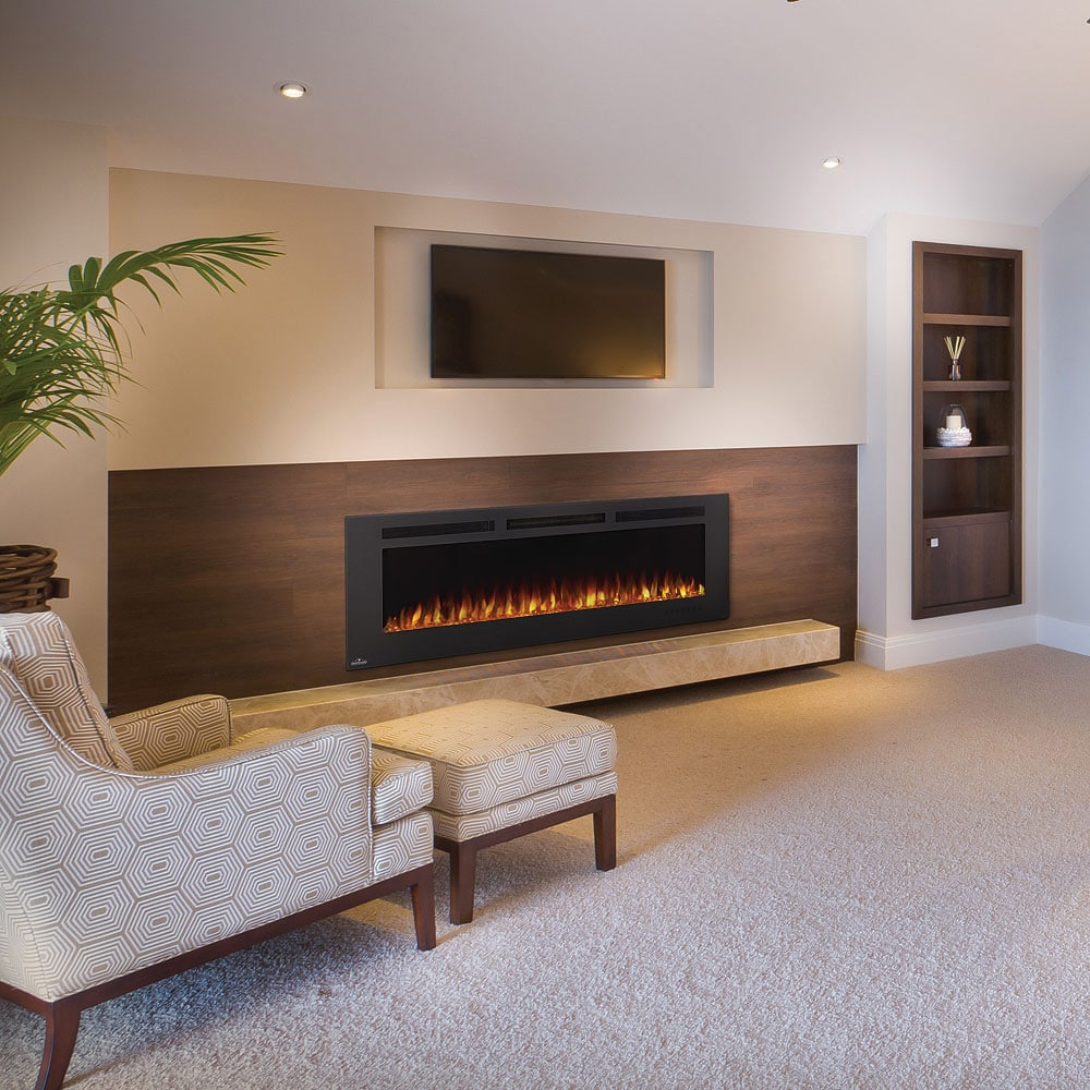 Living Room Electric Fireplace Napoleon Allure Phantom 60 Inch Linear Electric Fireplace