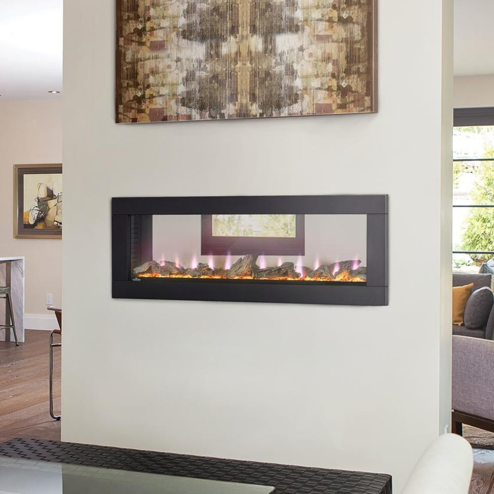 Living Room Electric Fireplace Napoleon Clearion 50 Inch See Through Linear Electric Fireplace