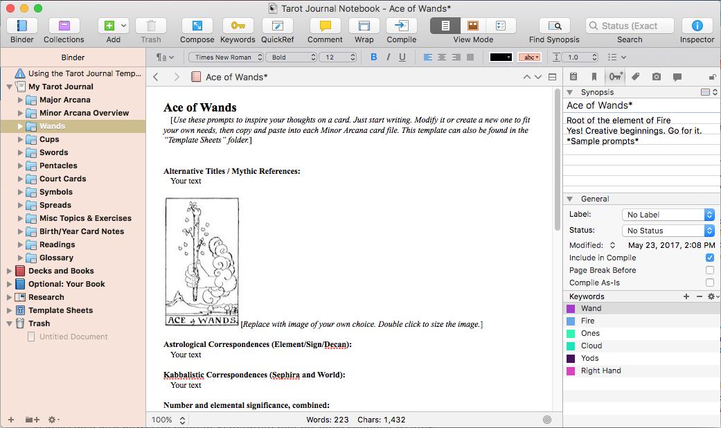 Your Tarot Journal  a Scrivener Template Mary K Greer\u0027s Tarot Blog
