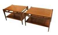Mid Century Bassett Danish Inspired Walnut Side Tables