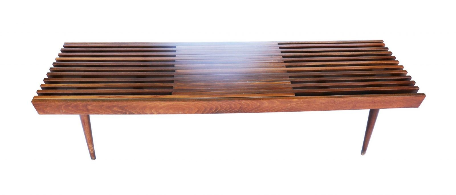 Mid Century Modern Danish Expandable Slat Bench wood