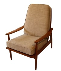 Mid Century Modern Teak High Back Lounge Chair
