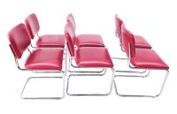 Six Mid Century Chrome Cantilever Side Chairs Loewenstein