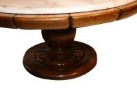 Vintage Walnut Marble Round pedestal Coffee Table