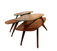 Pair Mid Century Modern Two Tier Pearsall Style Tables