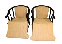 Chinese Style Black Lacquer Horseshoe Arm Chairs Pair ...