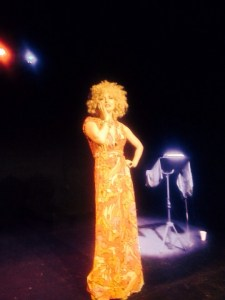 The SInging Psychic on stage Tristan Bates! Created and performed by Marysia Trembecka performed