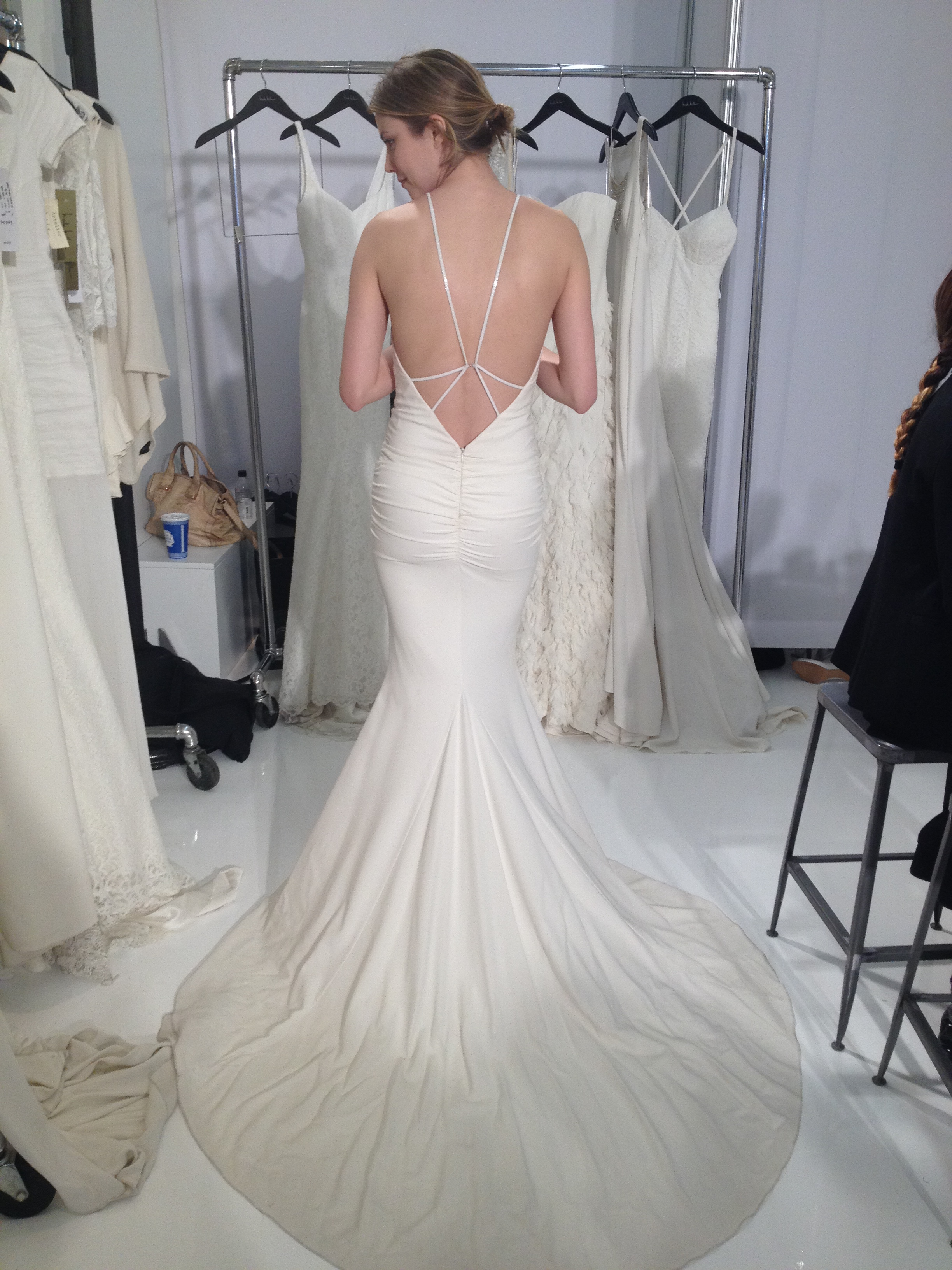 nicole miller bridal at nyc bridal week nicole miller wedding dresses What you ll see from her Fall Bridal collection new plays on low back wedding dresses some incredible work with illusion neck and backlines