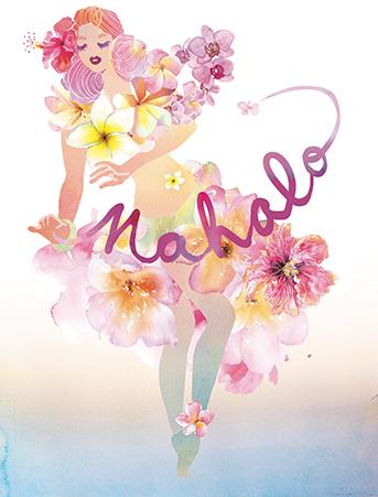 Fall Vibes Wallpaper Mahalo Hawaiian Dance Girl Watercolor Thank You Card By