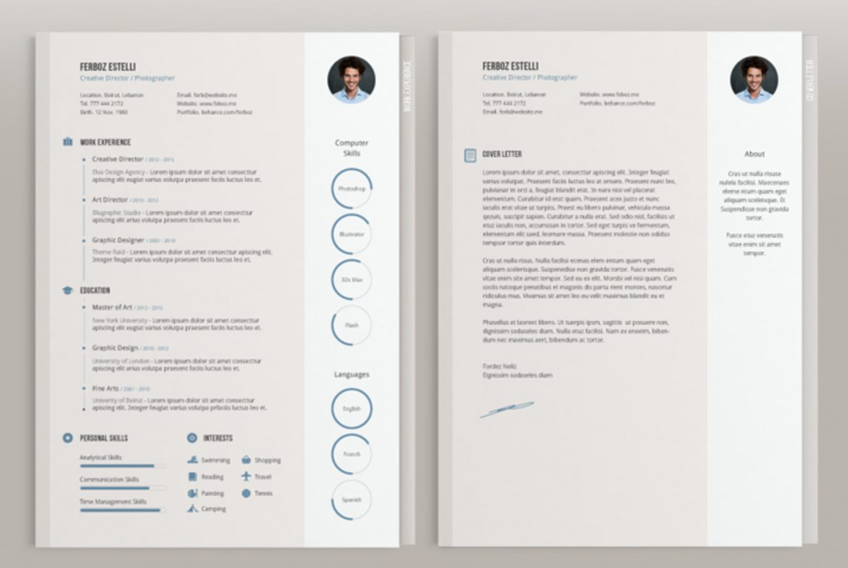 cv template indesign gratuit