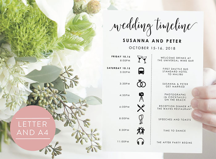 25 Beautiful Wedding Timeline Templates - Mashtrelo - wedding timeline