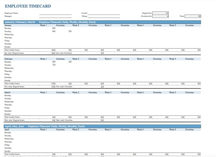 15+ Free Timesheet Templates - Employee Timecard Excel Examples